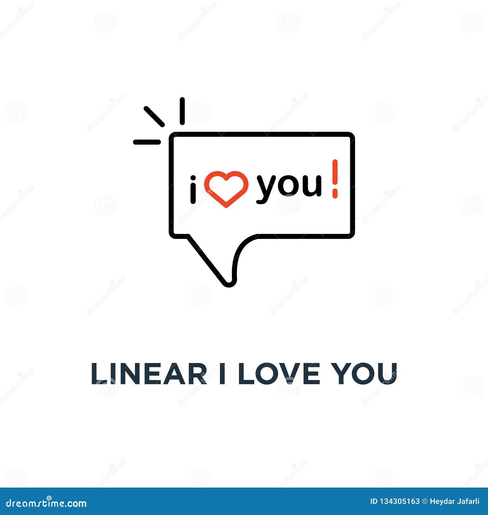 Eu te amo texto linear no ícone da bolha do discurso, símbolo do amante que diz palavras do reconhecimento na tendência simples d