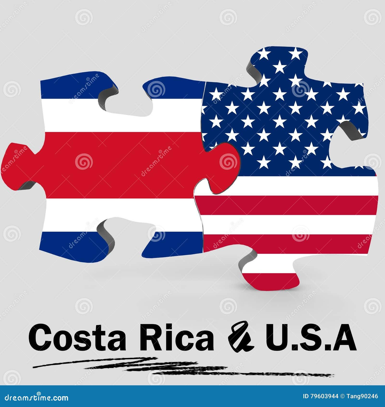 EUA e bandeiras de Costa Rica no enigma