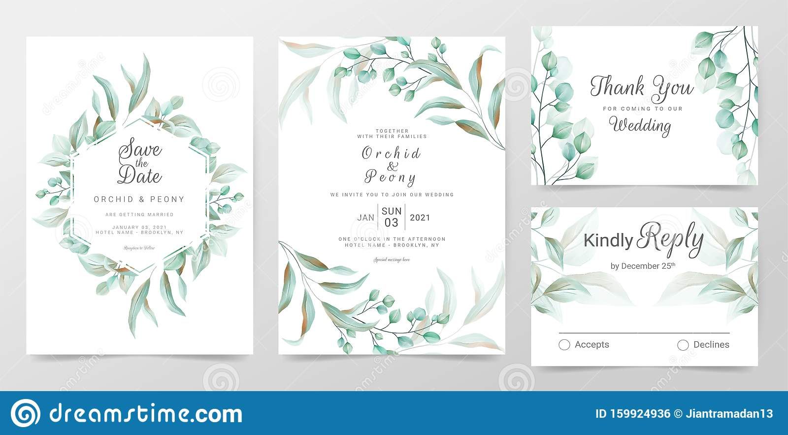 Greenery Save the Date Card Wedding Invitation