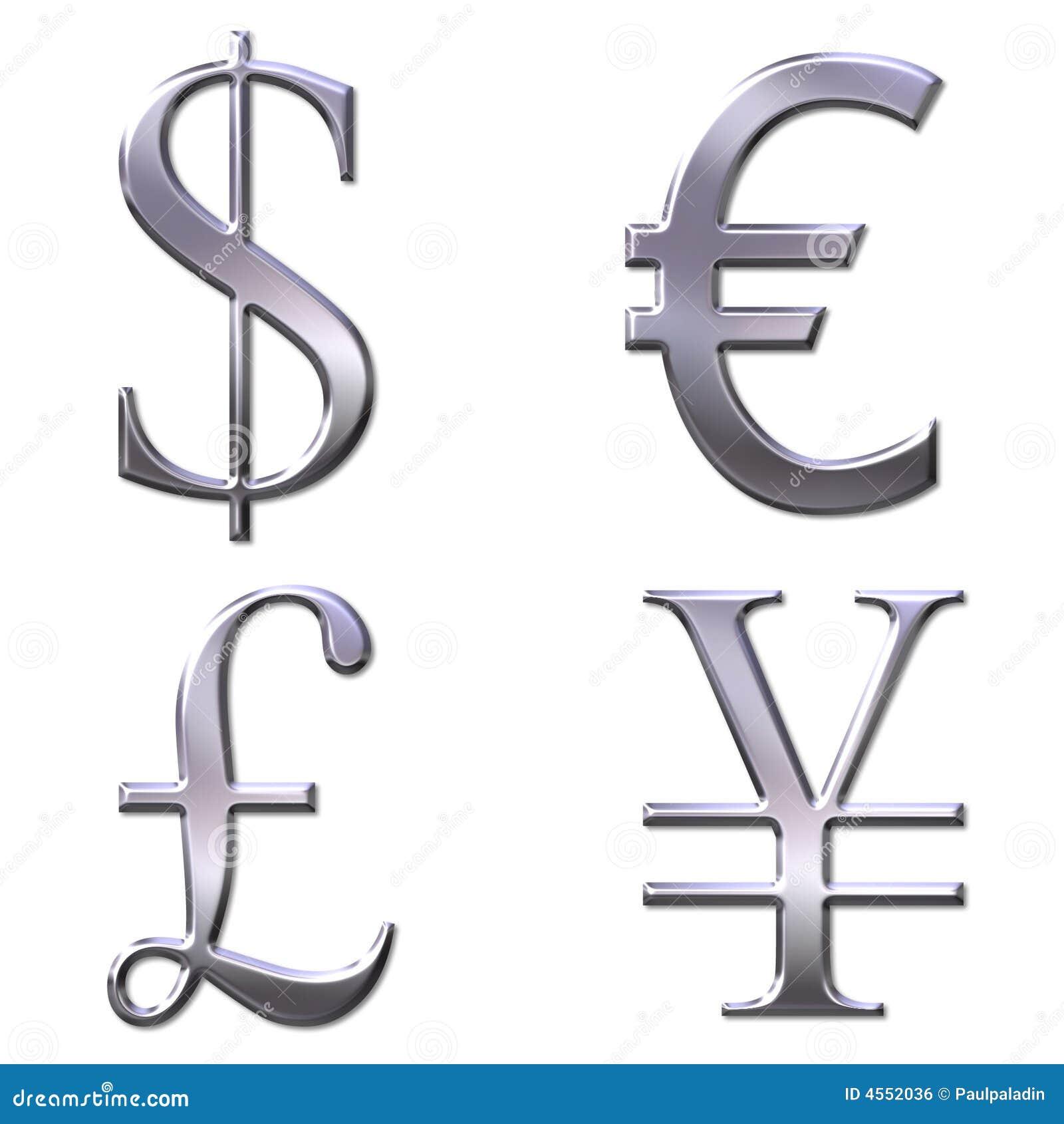 Eur Dollar Yen Pound Symbols Stock Illustration Illustration Of