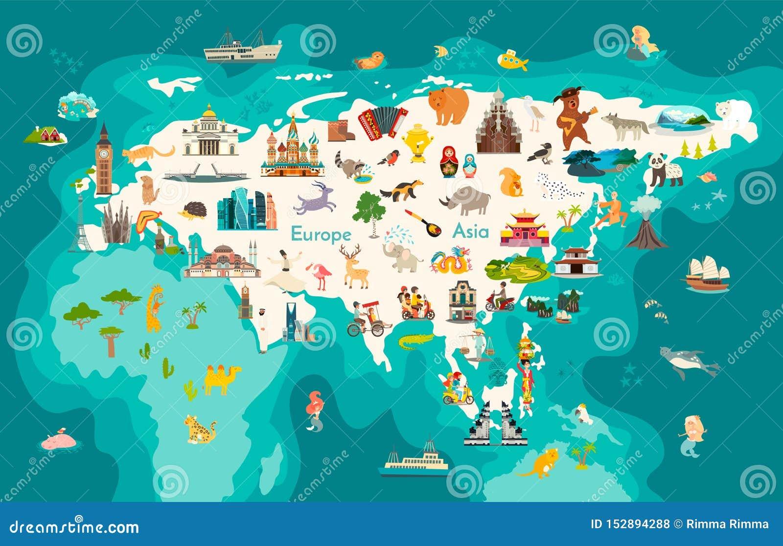 Eurasia Continent, World Map With Landmarks Vector Cartoon ...