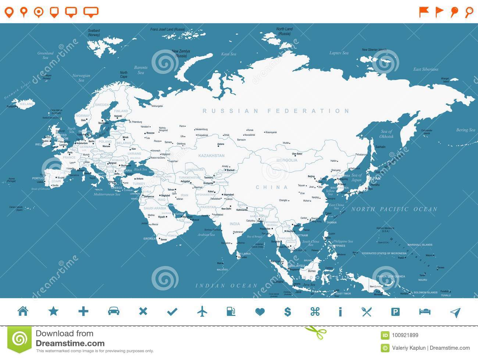 Indonesia Thailand Map.Eurasia Europa Russia China India Indonesia Thailand Map Vector