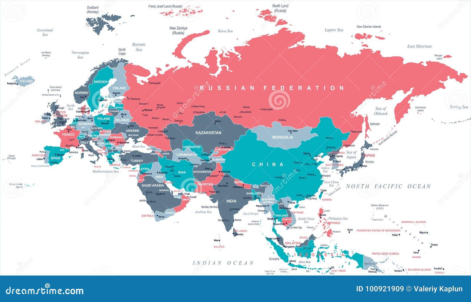 Eurasia Europa Russia China India Indonesia Thailand Map Vector