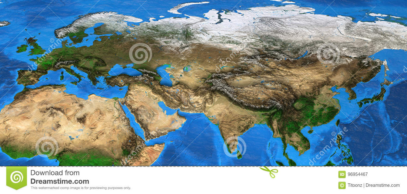 Map Of Asia Landforms.Eurasia High Resolution Map Of Europe And Asia Stock Image Image