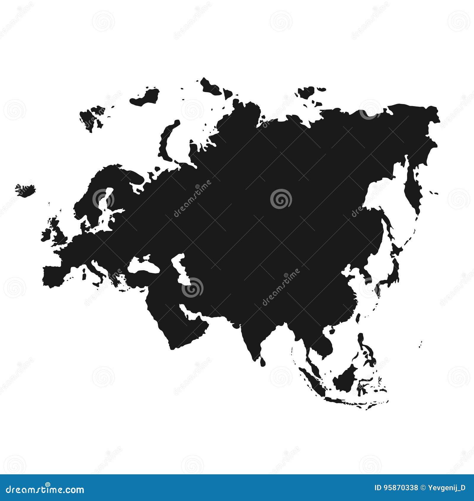 Zwart En Wit Geografische Kaart Vector Alle Continenten Azie