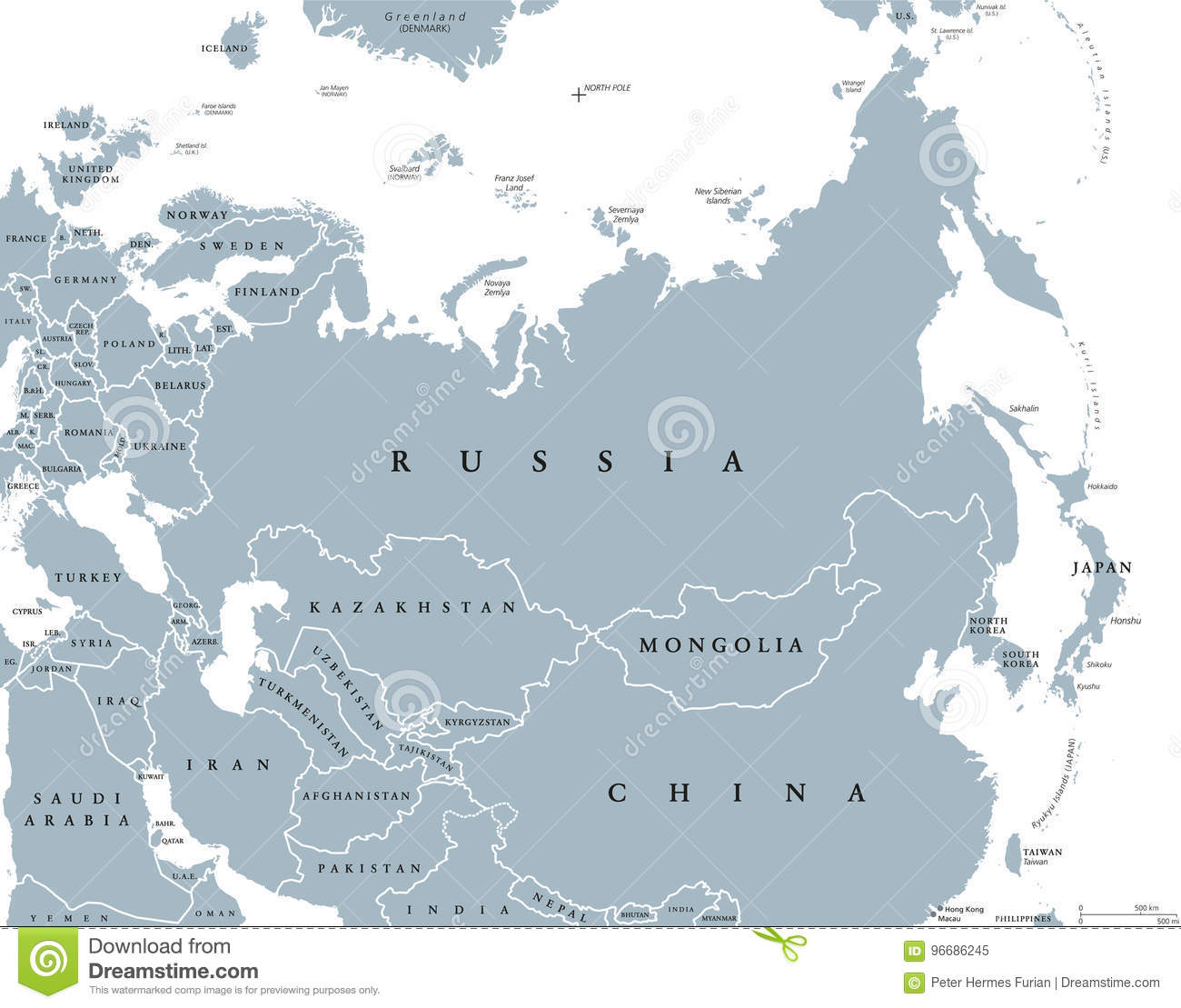 Eurasia Political Map With Countries And Borders Stock Vector ...