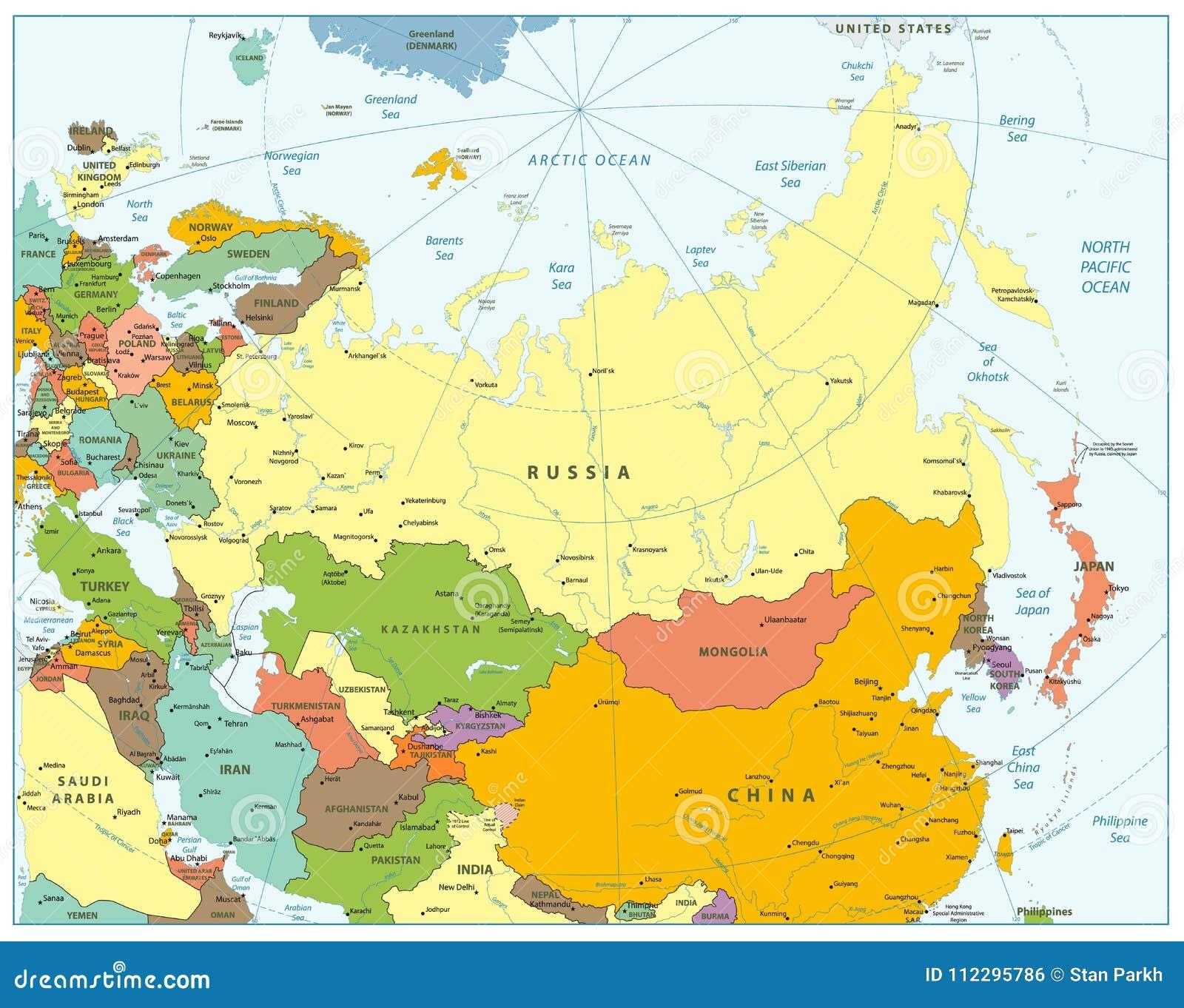 Eurasia Political Map stock vector. Illustration of lanka   112295786