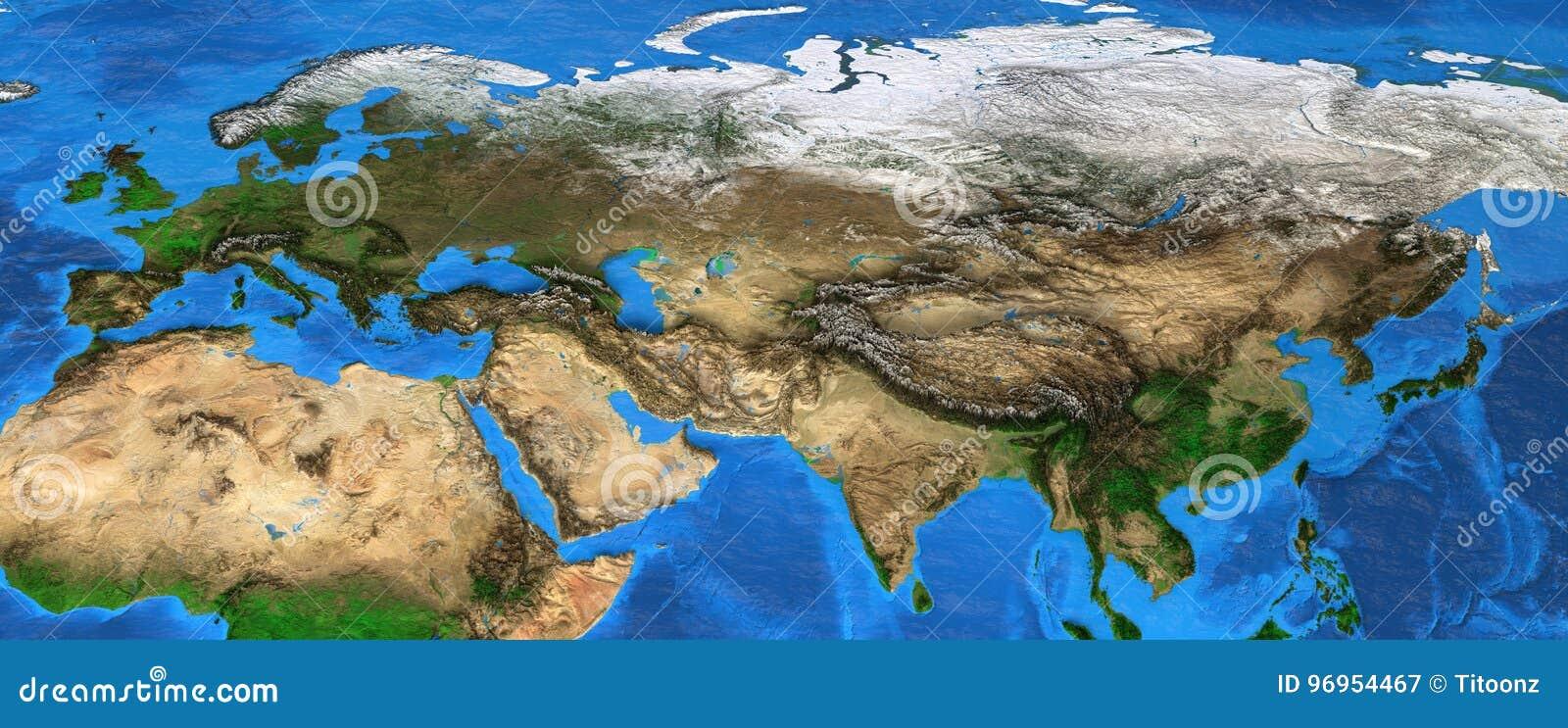 Eurasia Wysoka Rozdzielczosc Mapa Europa I Azja Obraz Stock