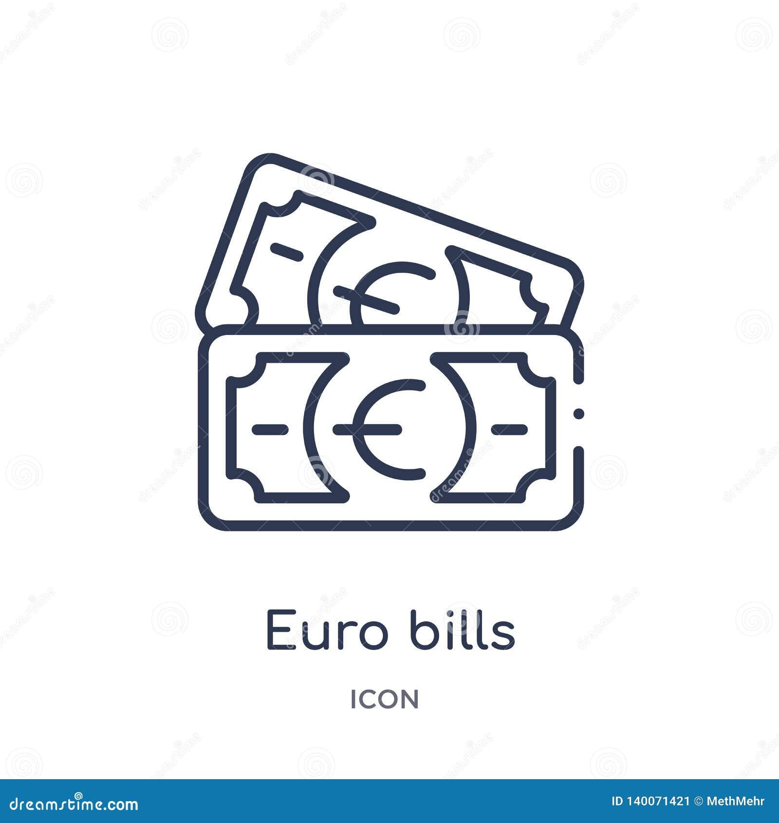 Euro- ícone linear das contas da coleção do esboço do negócio Linha fina euro- ícone das contas isolado no fundo branco euro- con