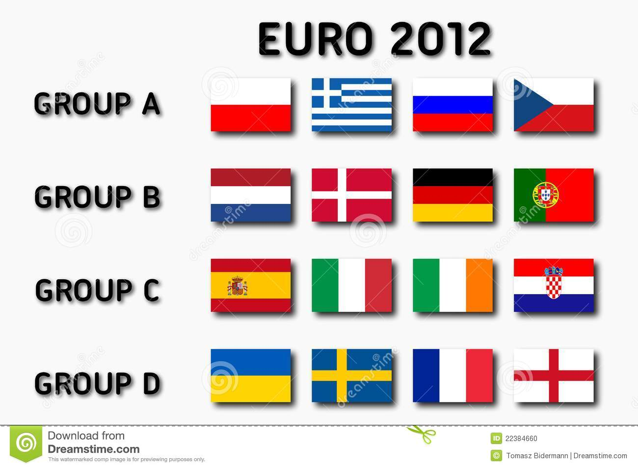 euro 2012 groups editorial image image of groups graphic