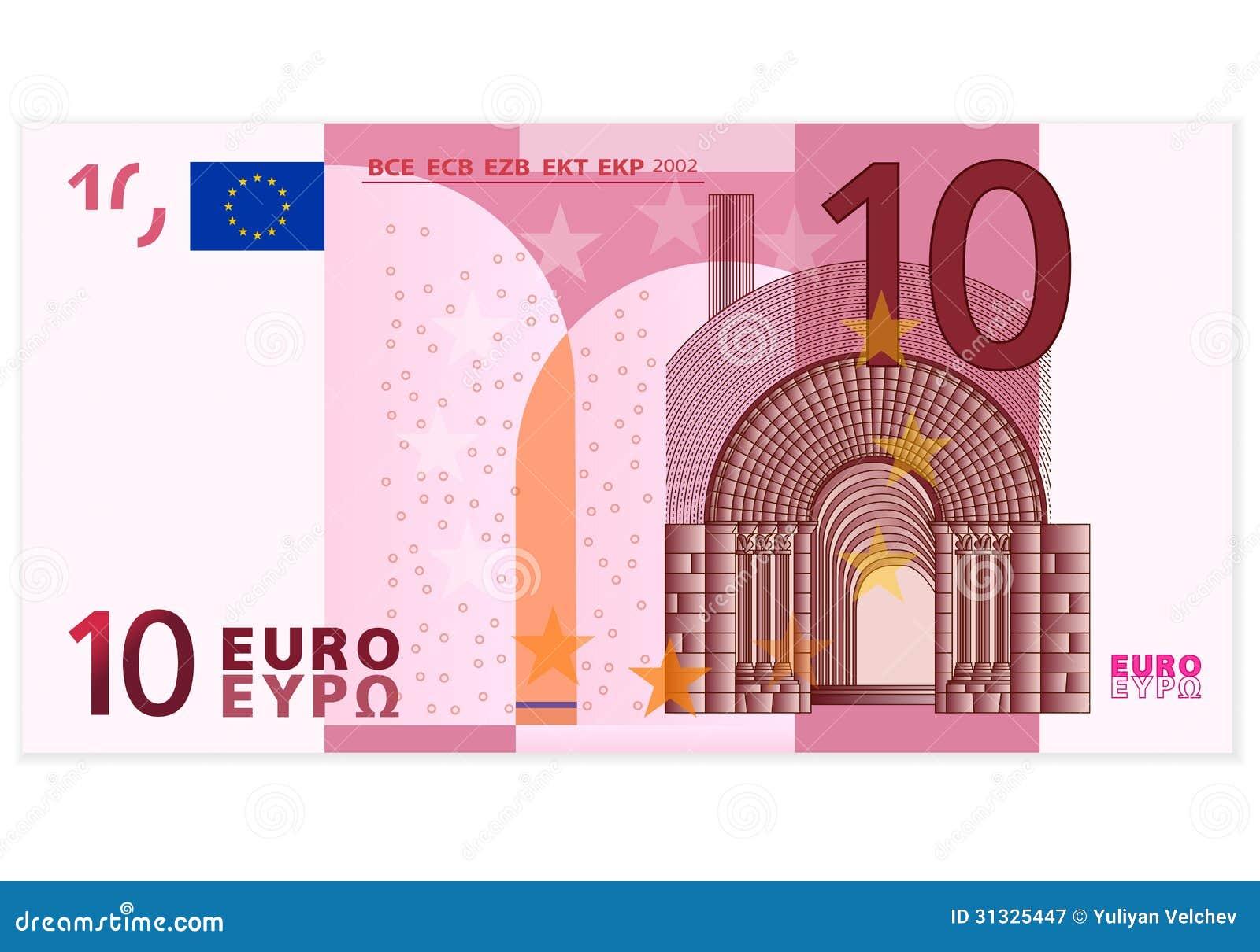 euro bankbiljet tien vector illustratie illustratie. Black Bedroom Furniture Sets. Home Design Ideas