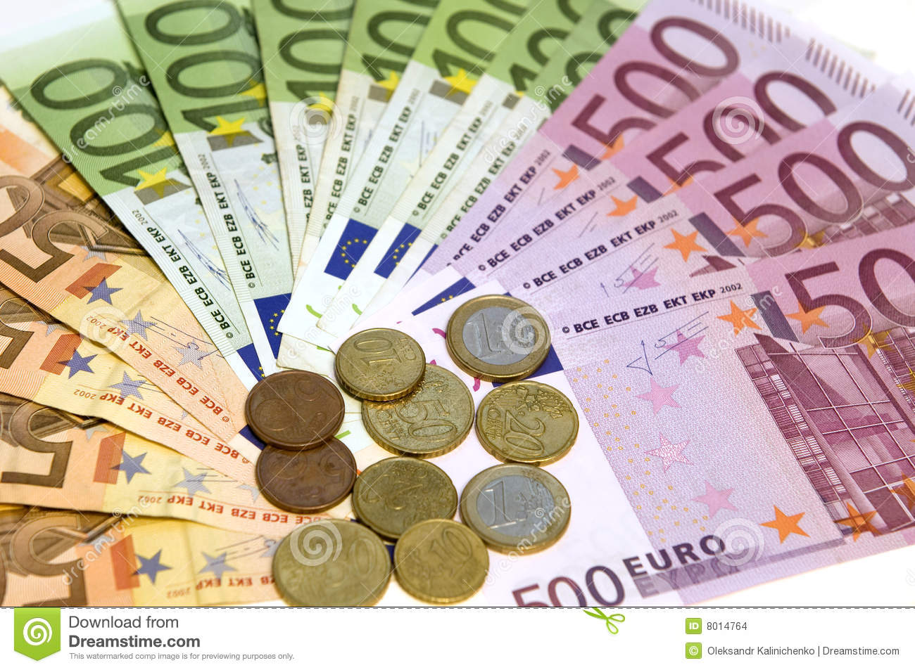 Euro banknotes nd coins, different values, cash.