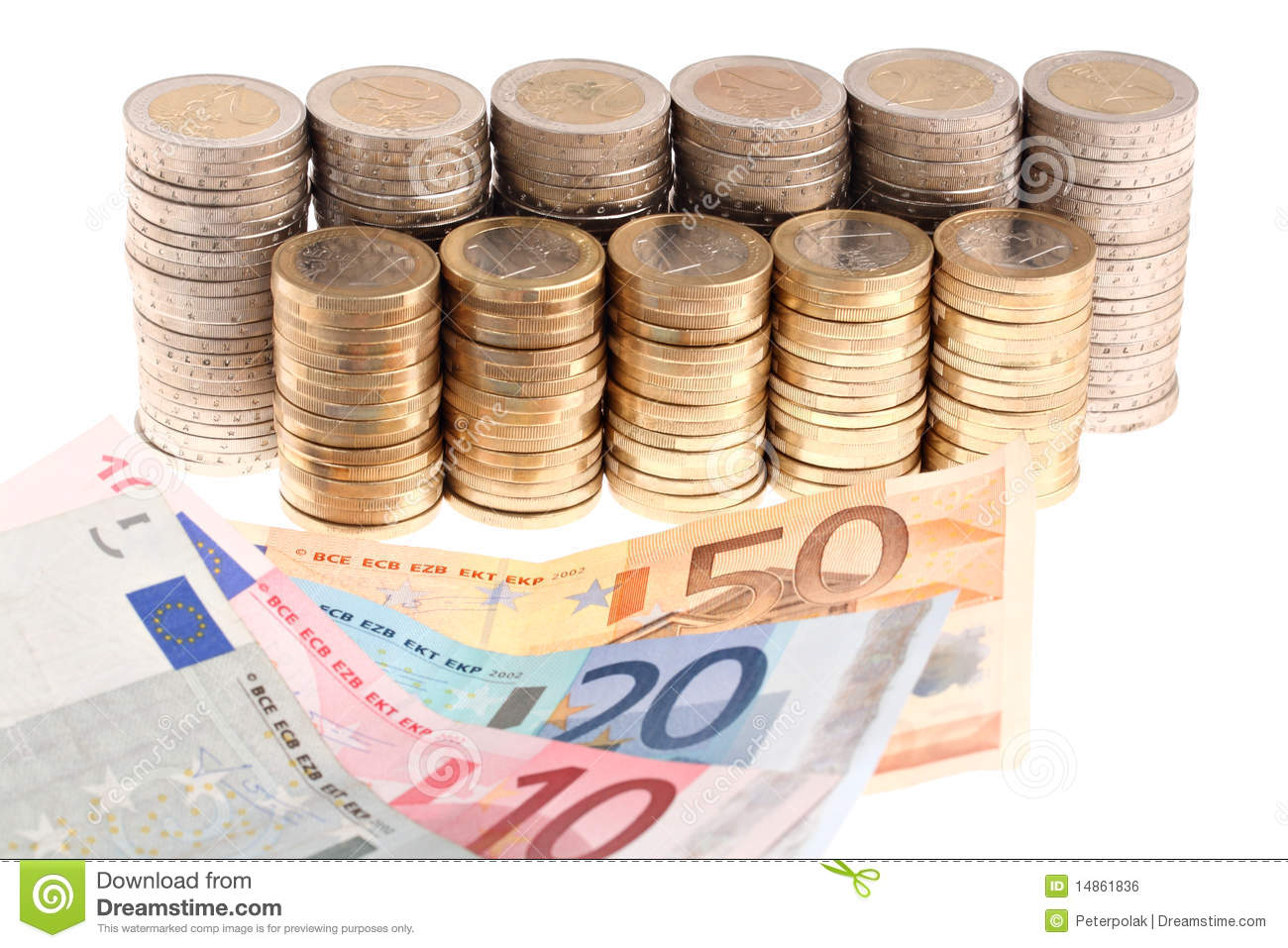 Euro banknotes and coins organized in columns