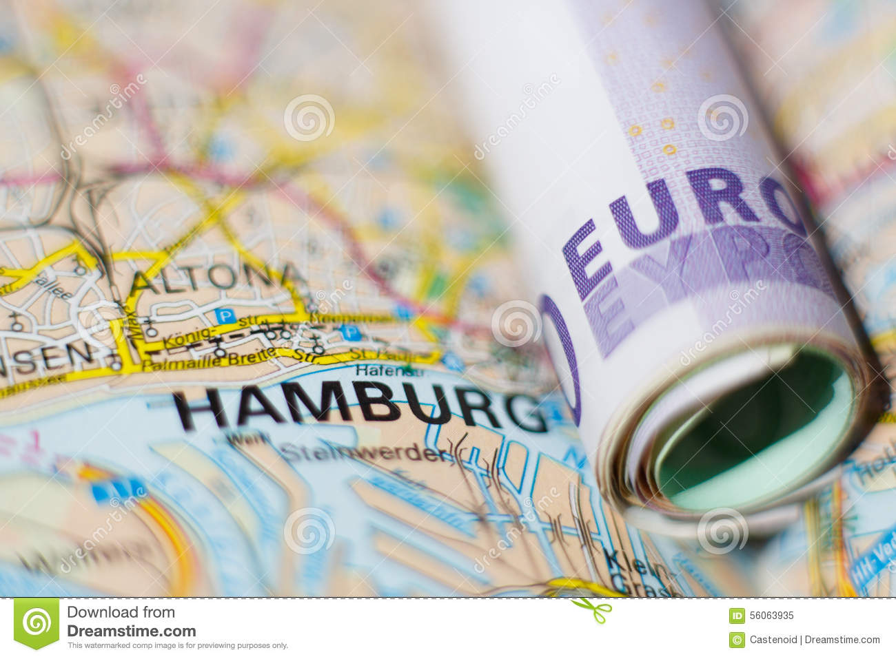 Geographical Map Of Germany.Euro Banknotes On A Geographical Map Of Hamburg Stock Image Image