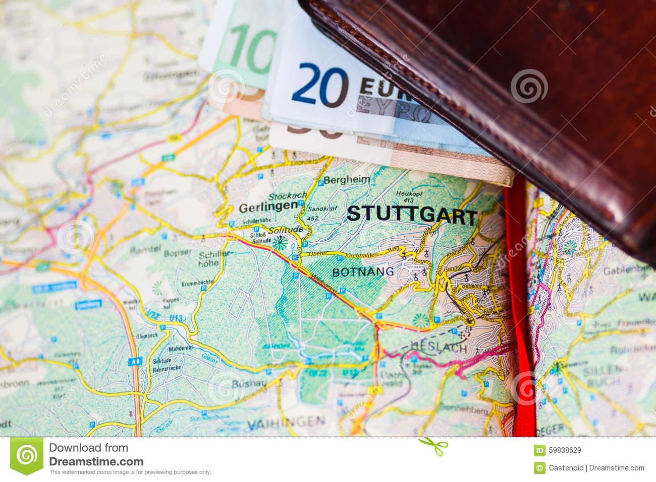 Geographical Map Of Germany.Euro Banknotes Inside Wallet On A Geographical Map Of Stuttgart