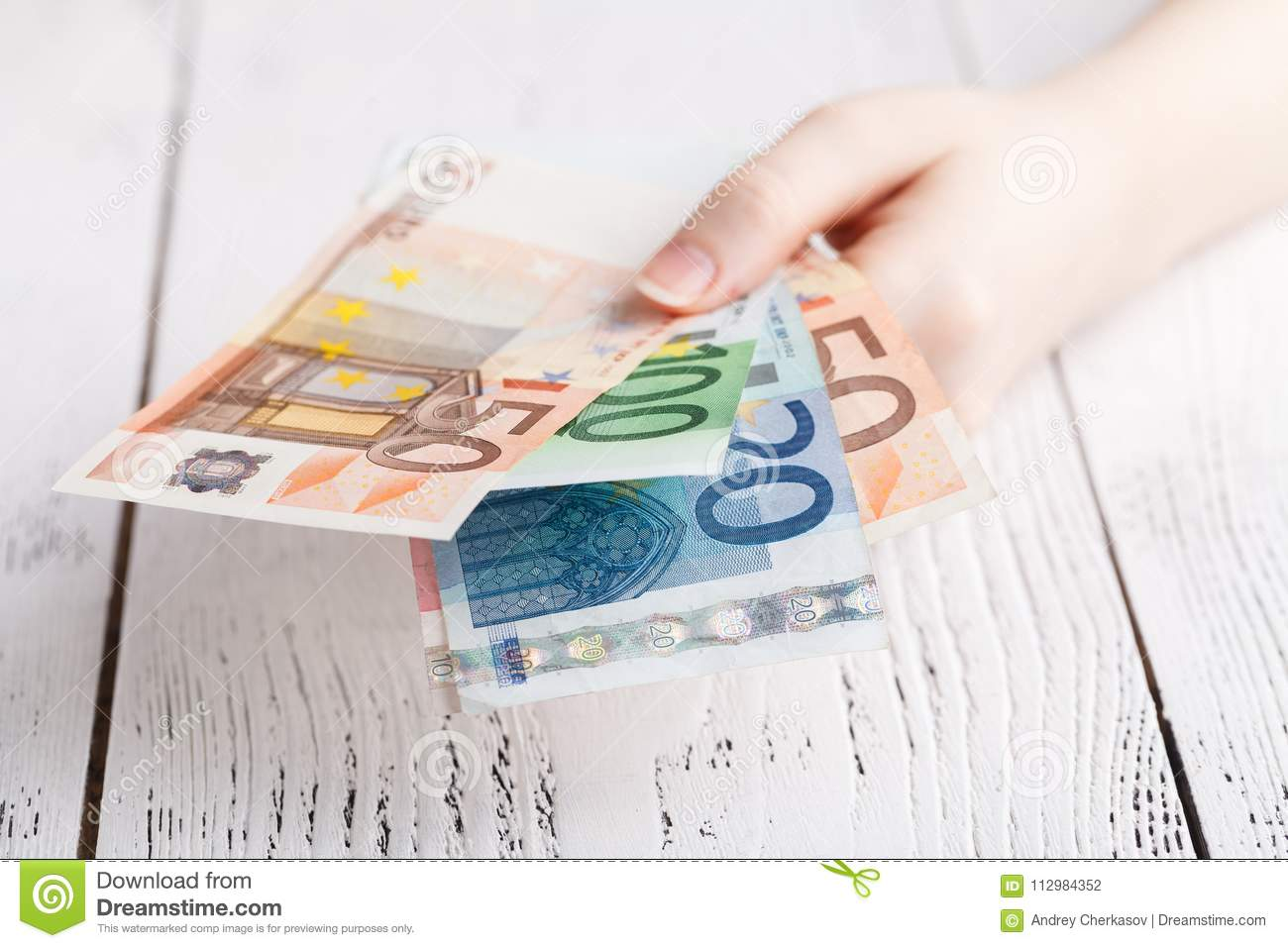 Euro banknotes money in female hands