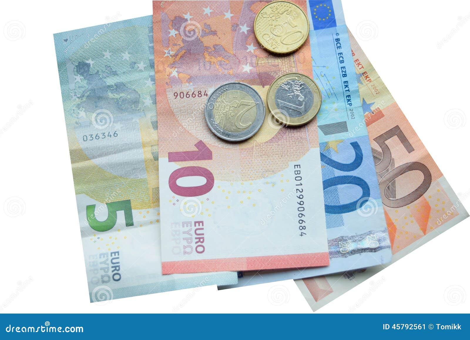 euro billet de banque et pi ces de monnaie d 39 argent image stock image 45792561. Black Bedroom Furniture Sets. Home Design Ideas