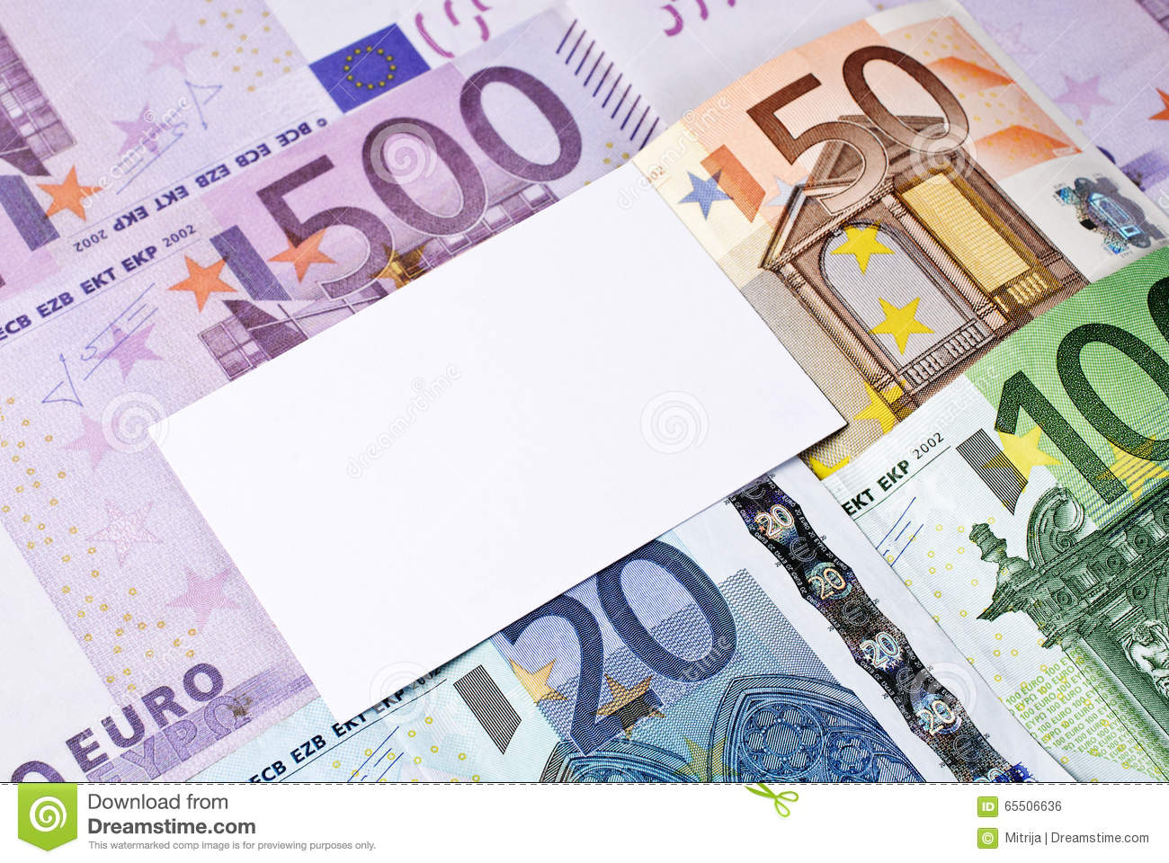 Euro bills and blank business thank you or greeting card stock euro bills and blank business thank you or greeting card m4hsunfo