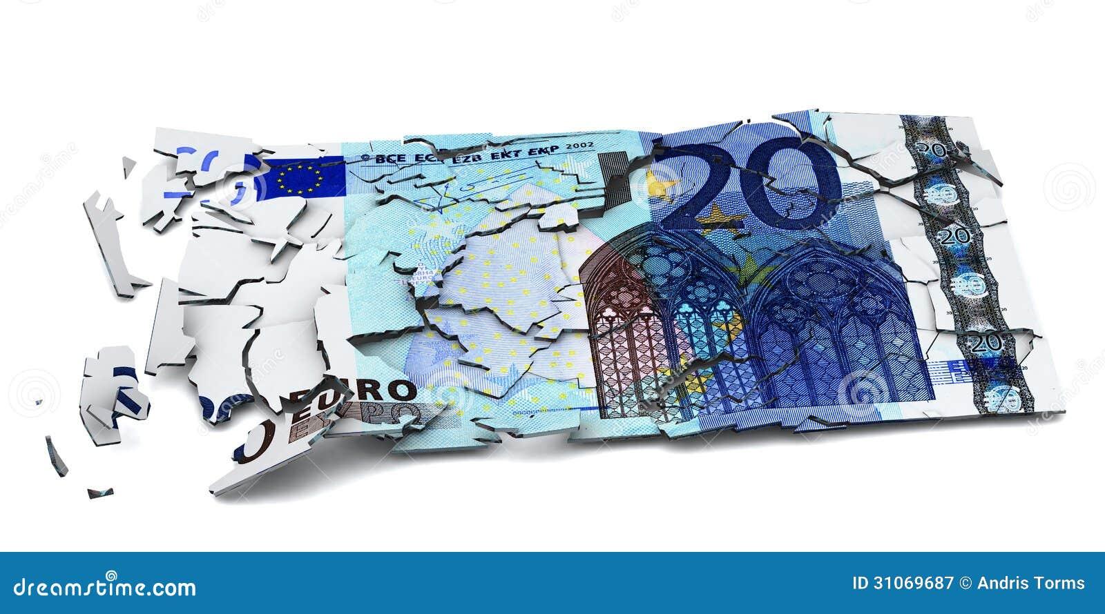 Euro- cédula quebrada