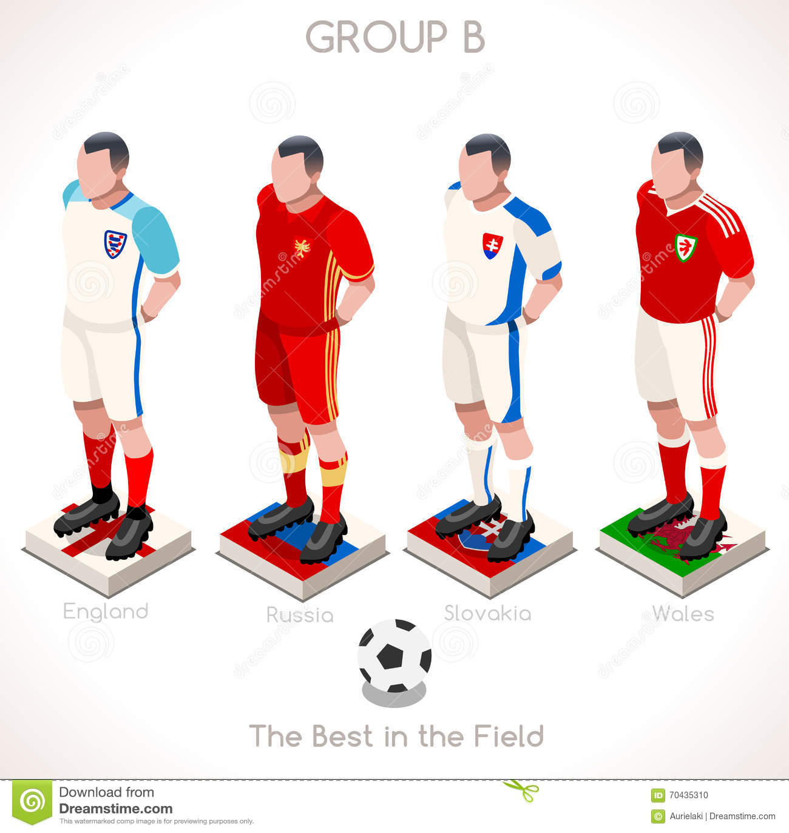 EURO 2016 Championship GROUP B Stock Vector