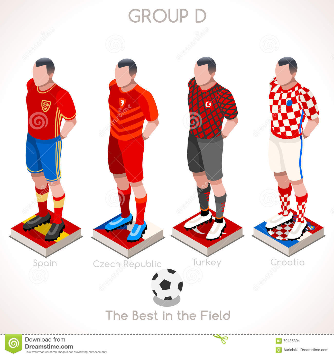 EURO 2016 Championship GROUP D Stock Vector