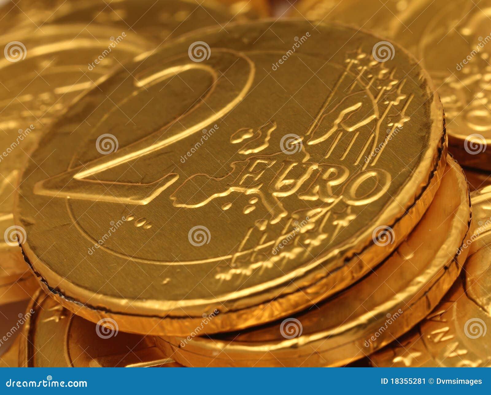 Euro Chocolate Coins Stock Image - Image: 18355281