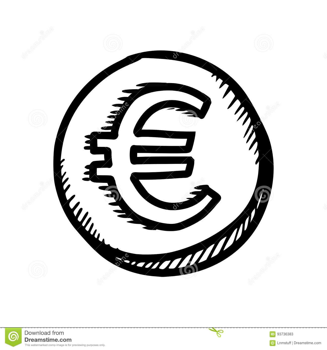 Euro Coin Stock Vector Illustration Of Circle Exchange 93736383
