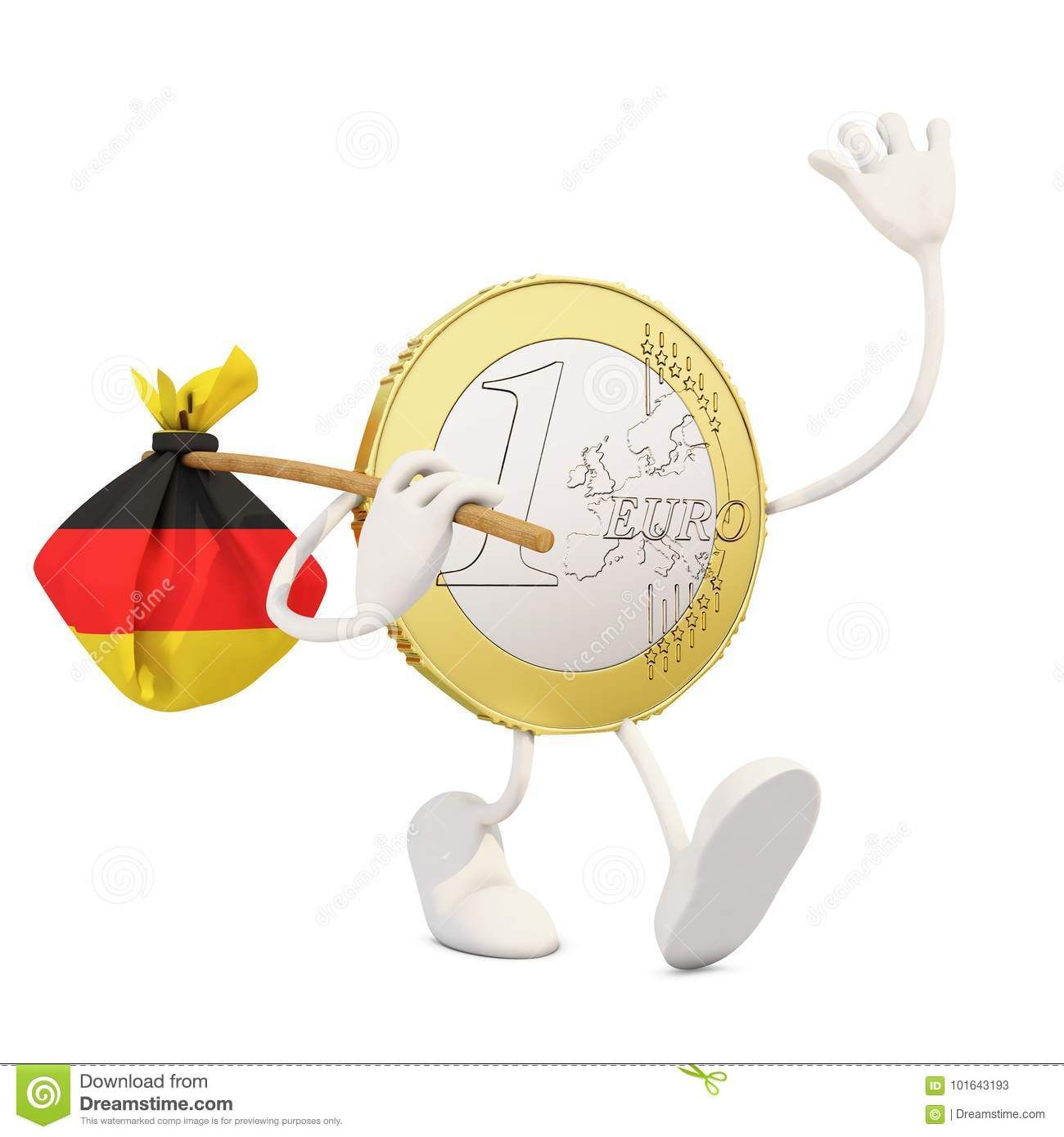 Euro Coin Leaving Germany Stock Illustration Illustration Of Symbol