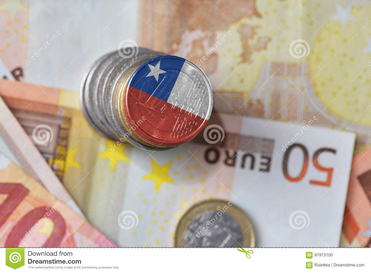 Euro Coin With National Flag Of Chile On The Euro Money Banknotes