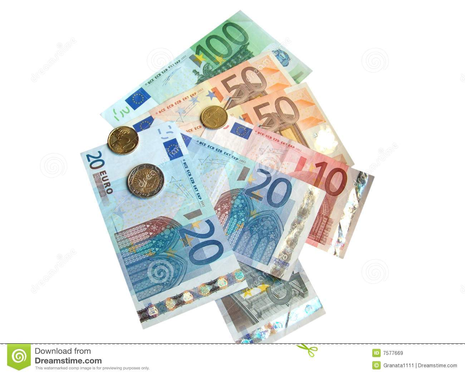 Euro coins and euro banknotes on white