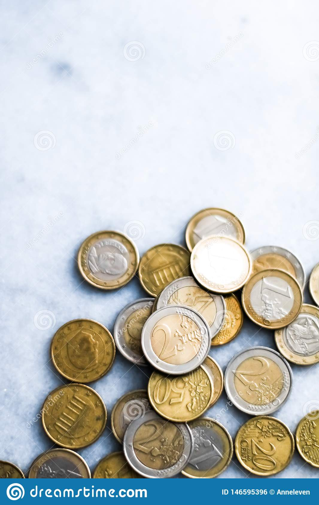 Euro coins, European Union currency