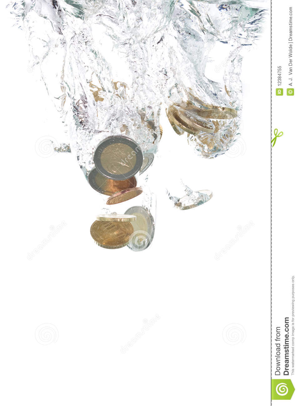 Euro coins falling into the water