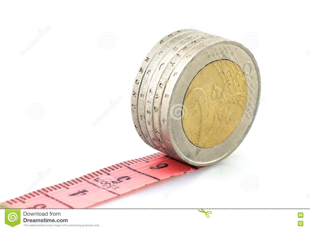 Euro coins running on red ruler