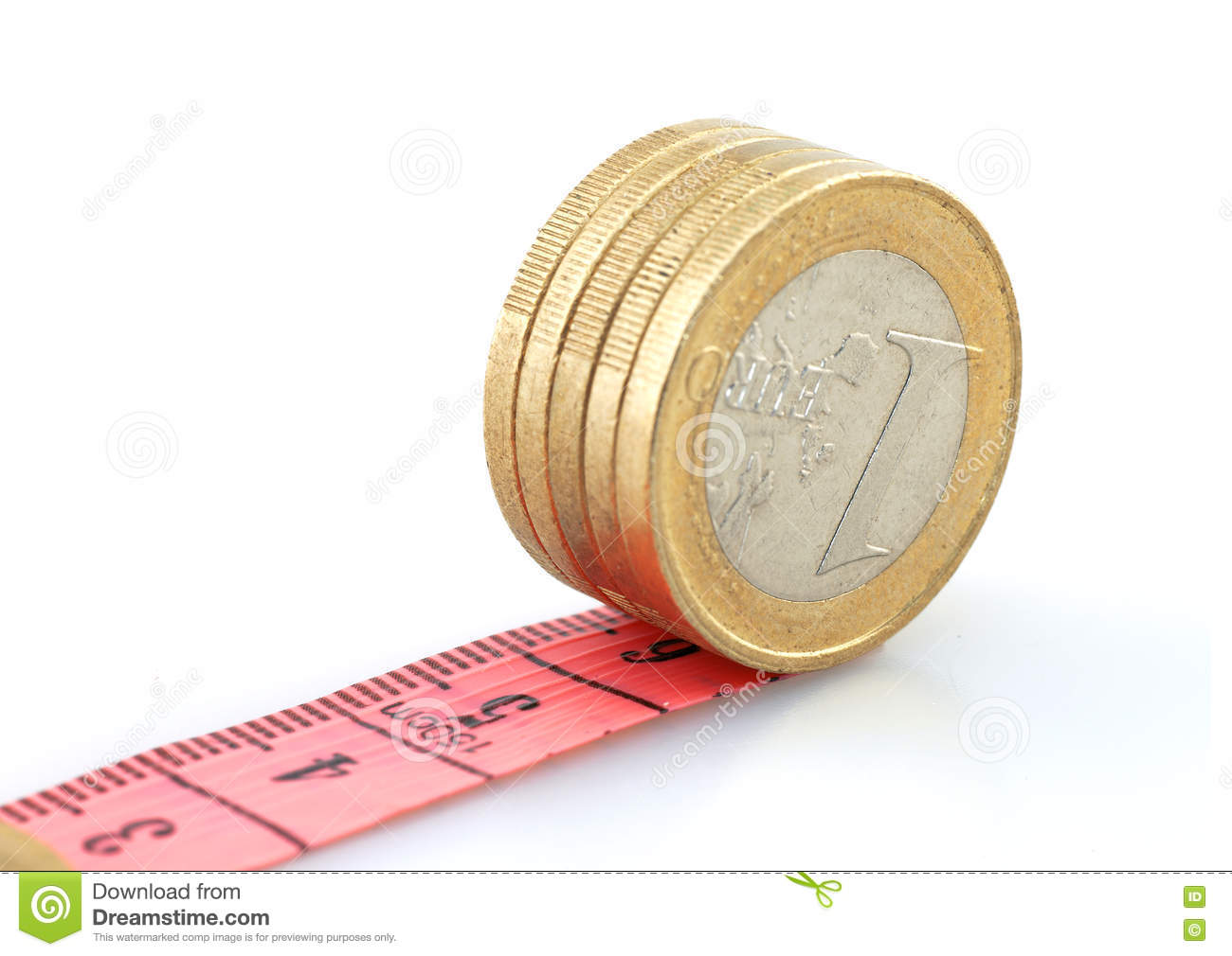 Euro coins running on tape