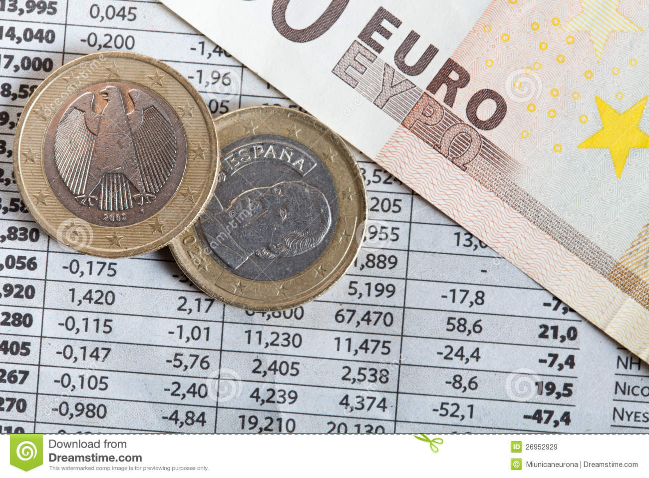 Euro coins and stock exchange results