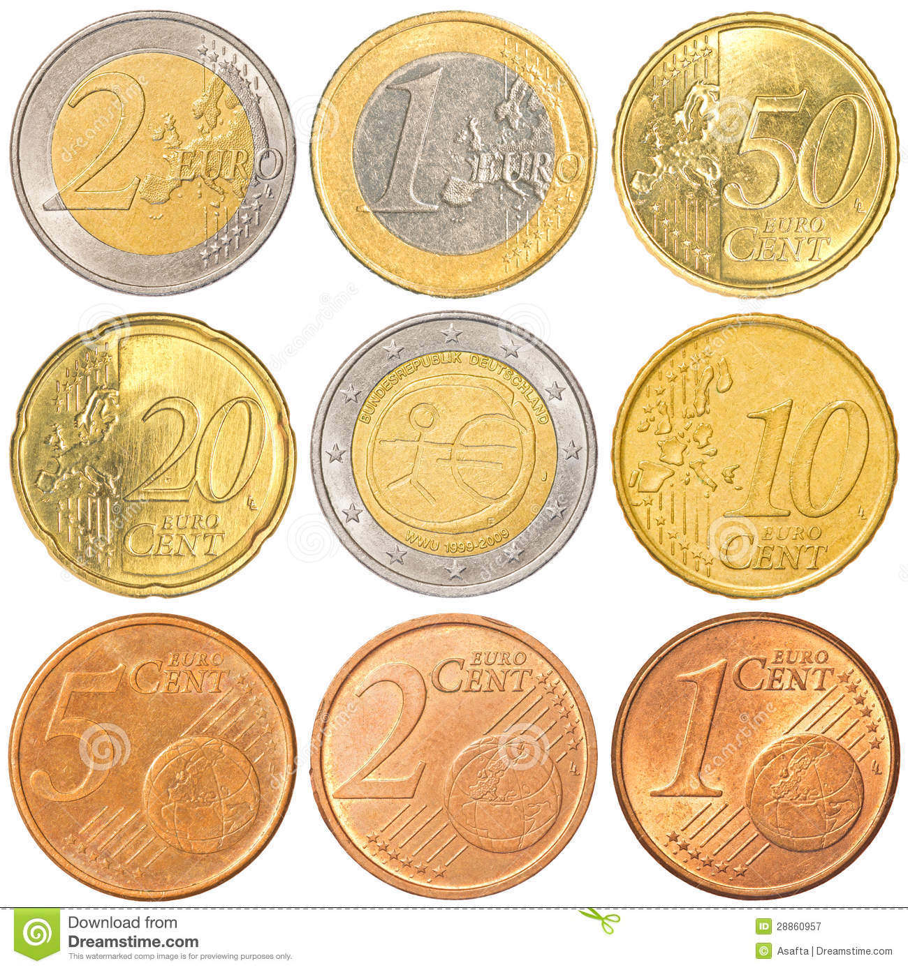 Euro collection de pi ces de monnaie image stock image 28860957 - Piece 2 euros la plus chere ...
