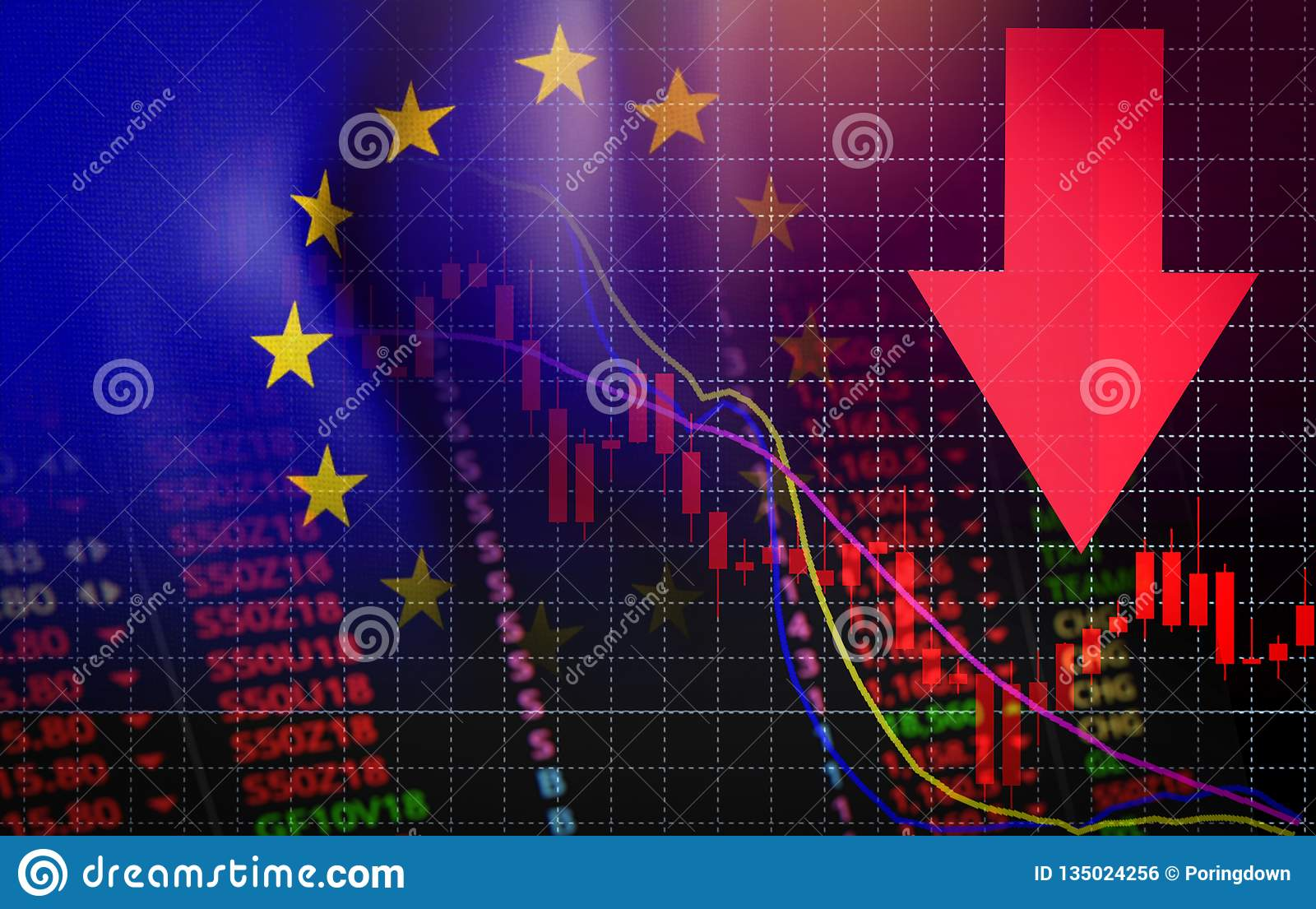 Euro crisis economic financial banking Investment problem euro money crisis red price arrow down chart fall
