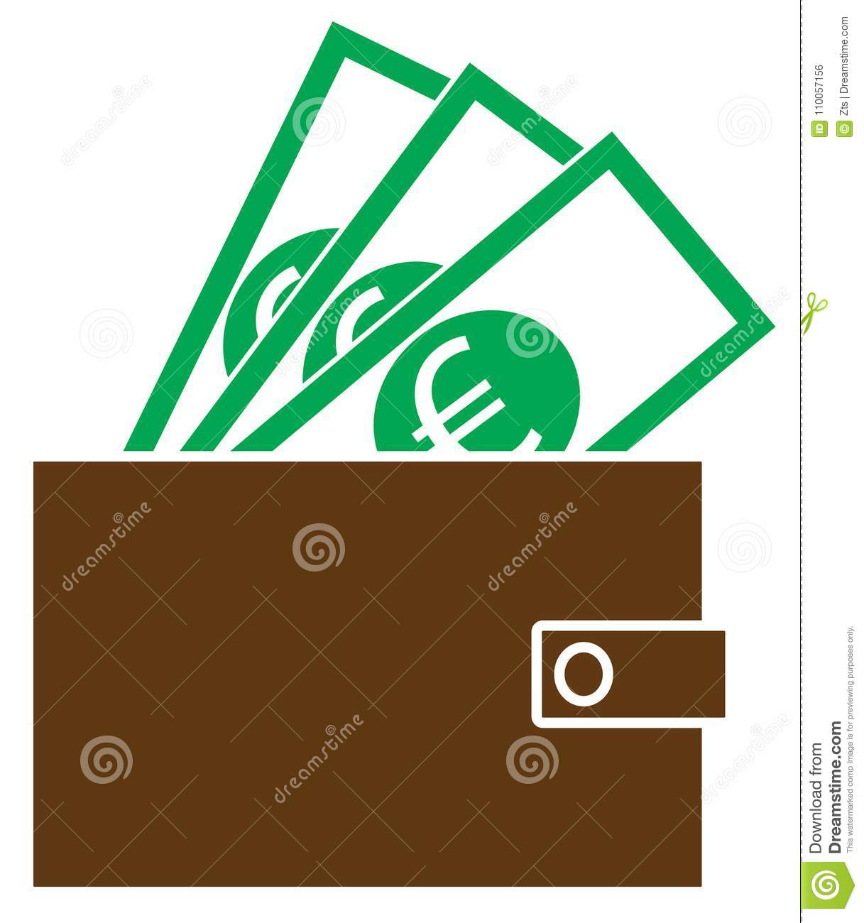Euro currency icon or logo on notes popping out of a wallet stock euro currency icon or logo on notes popping out of a wallet buycottarizona Choice Image