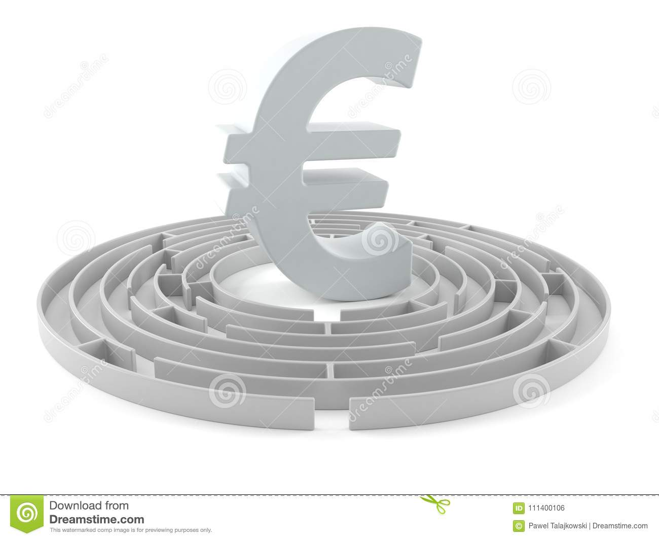 Euro Currency Symbol With Maze Stock Illustration Illustration Of