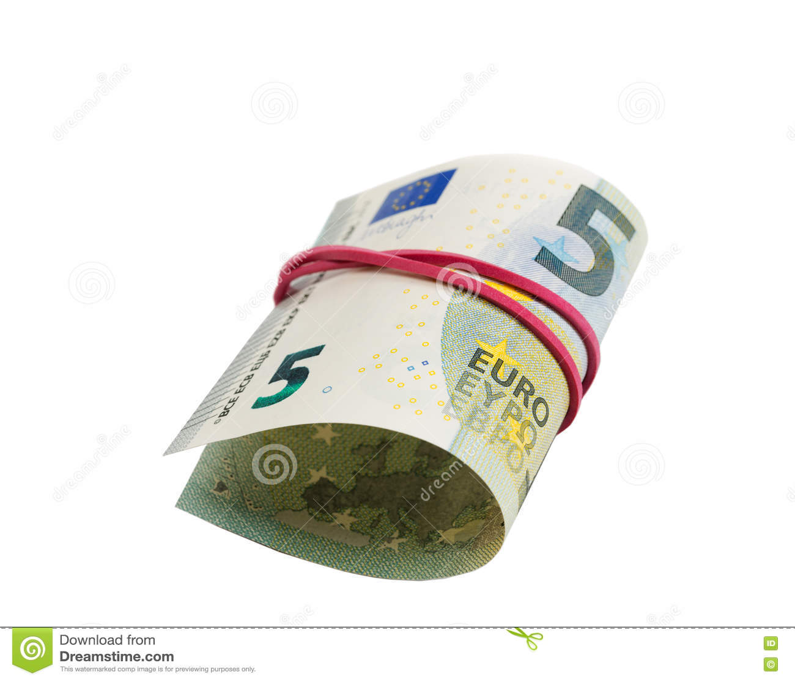 Euro del billete de banco 5 por aislante del rollo en blanco