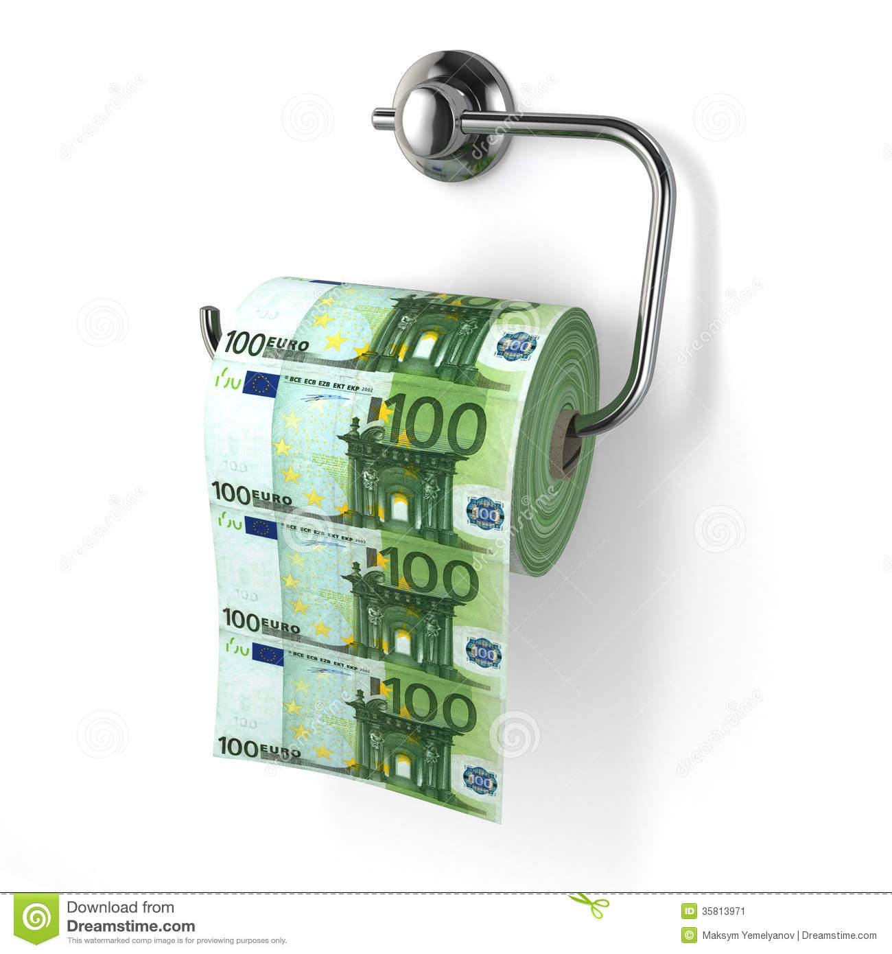 Euro Devaluation Money As Toilet Paper Stock Image