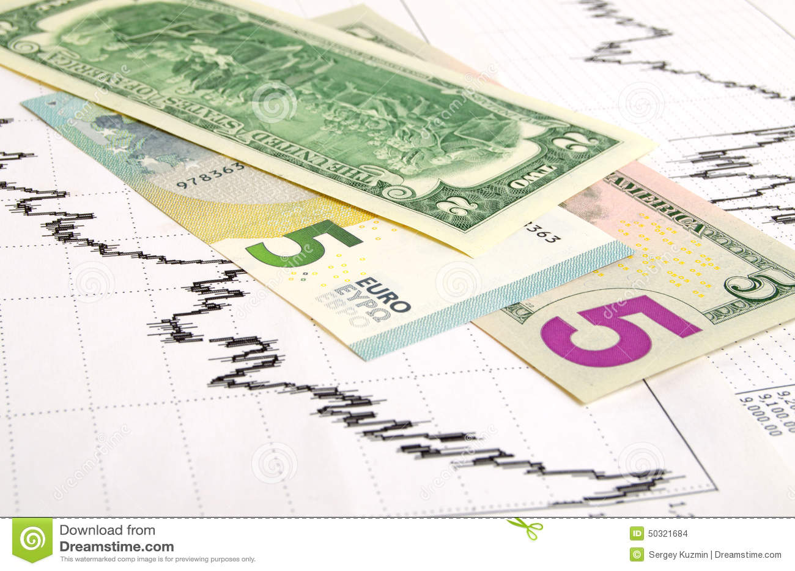 Euro Dollar Exchange Rate Stock Photo Image Of Bills 50321684