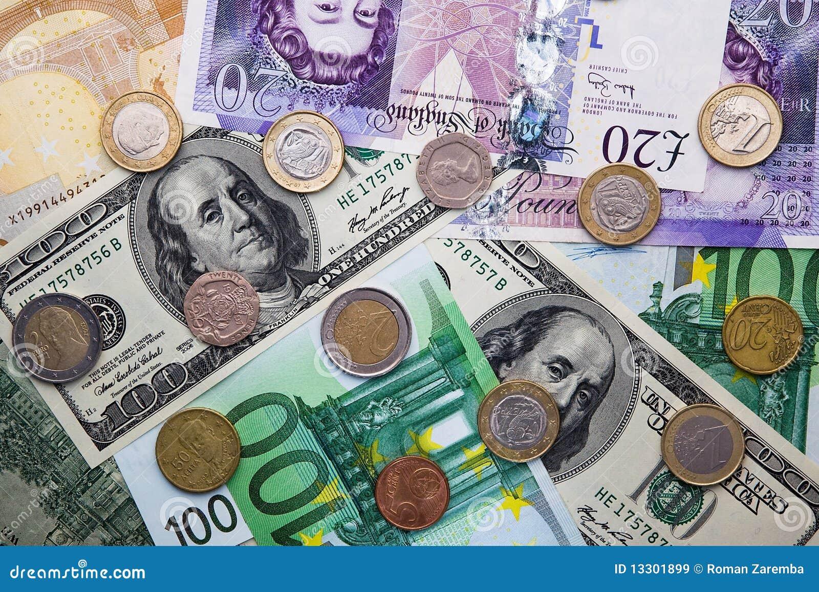 Euro, Dollar, Pond - Bankbiljetten en Muntstukken