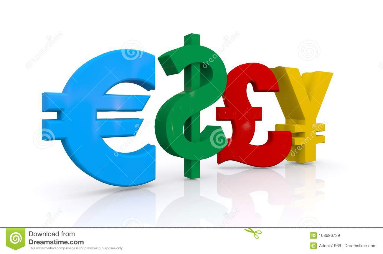 Euro Dollar Pound And Yen Symbols Stock Illustration Illustration