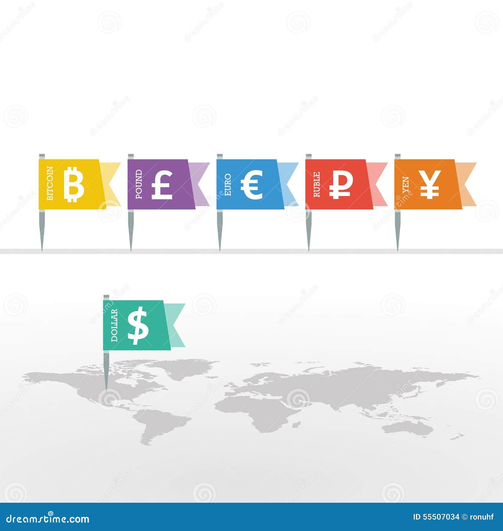 Euro dollar yen yuan bitcoin ruble pound mainstream currencies euro dollar yen yuan bitcoin ruble pound mainstream currencies symbols on flag sign on world map biocorpaavc