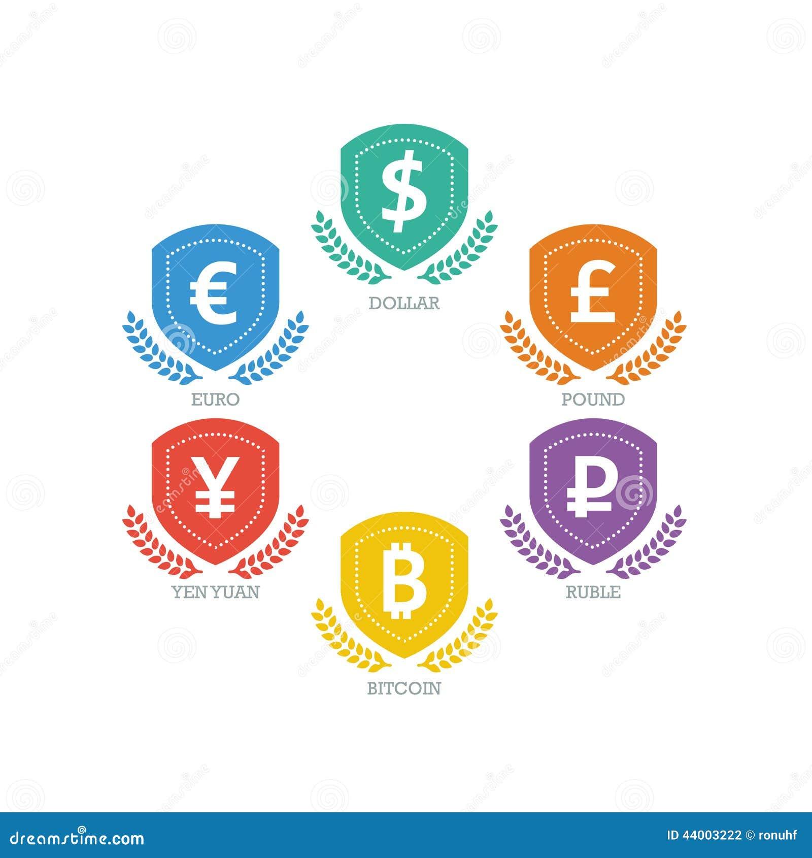 Euro dollar yen yuan bitcoin ruble pound mainstream currencies euro dollar yen yuan bitcoin ruble pound mainstream currencies symbols on shield sign concept currency buycottarizona Choice Image