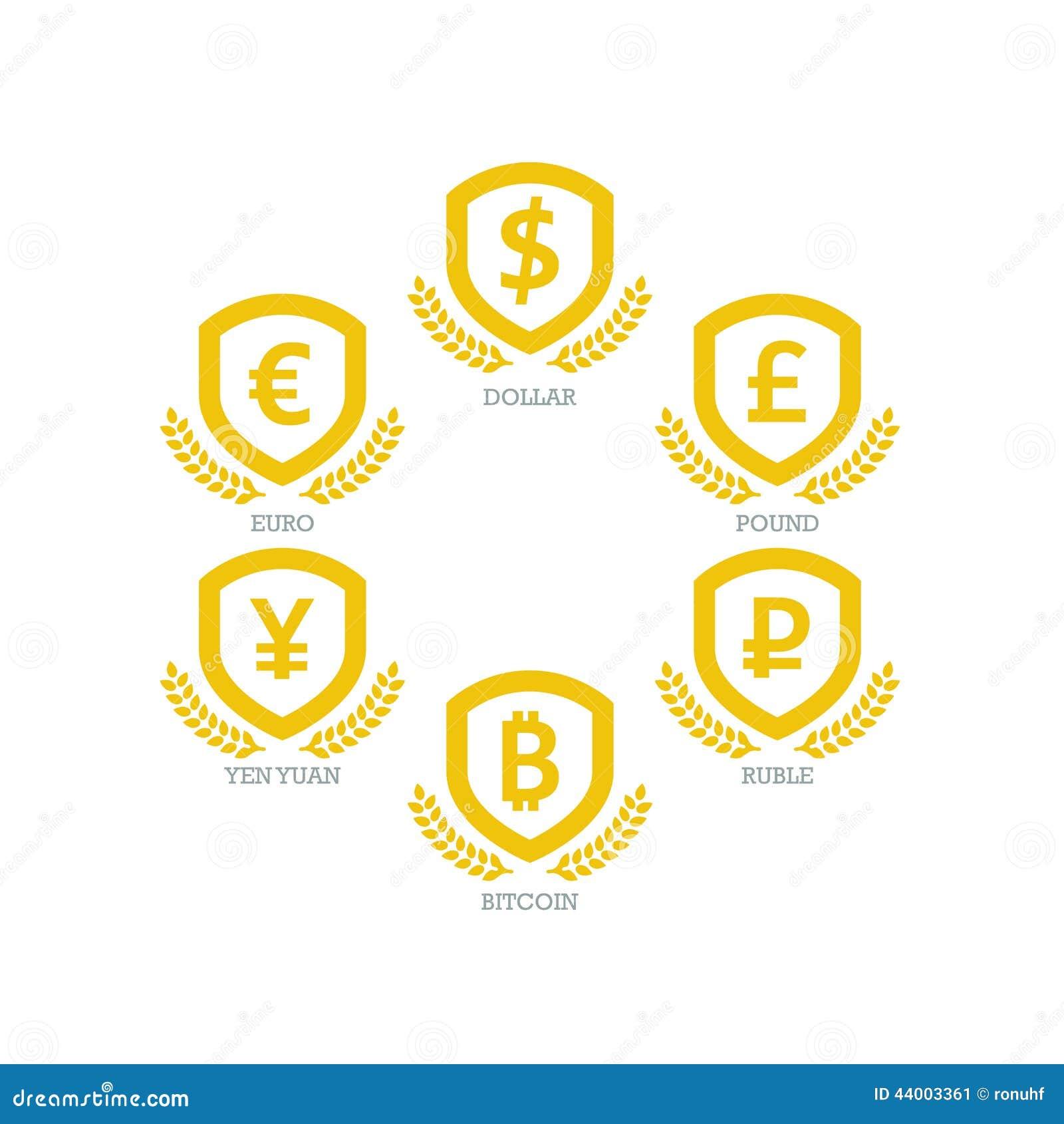Euro dollar yen yuan bitcoin ruble pound mainstream currencies euro dollar yen yuan bitcoin ruble pound mainstream currencies symbols on shield sign vector illustration graphic template isolat biocorpaavc