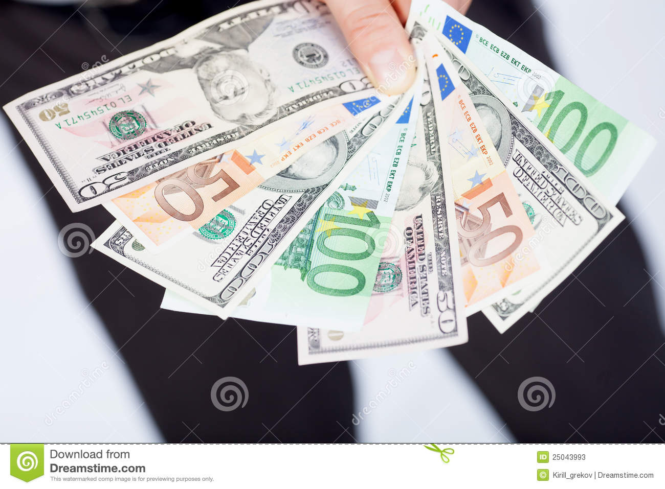 Euro and dollars in hand