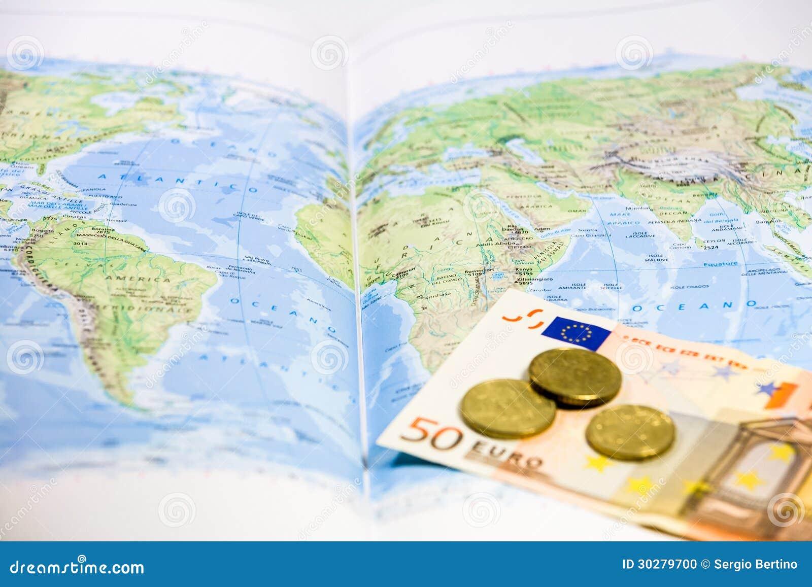 Euro e monete della mappa di mondo