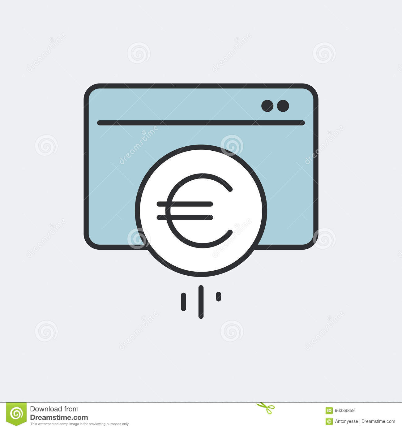 Euro Electronic Money Symbol Concept Flat And Isolated Vector E